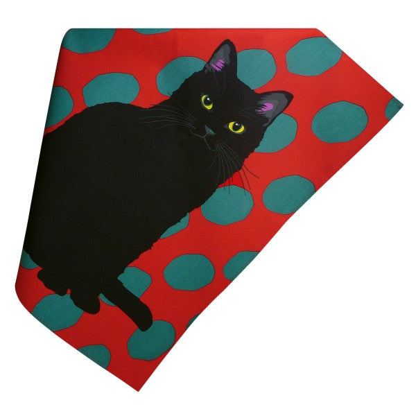 Black Cat Tea Towel by Leslie Gerry