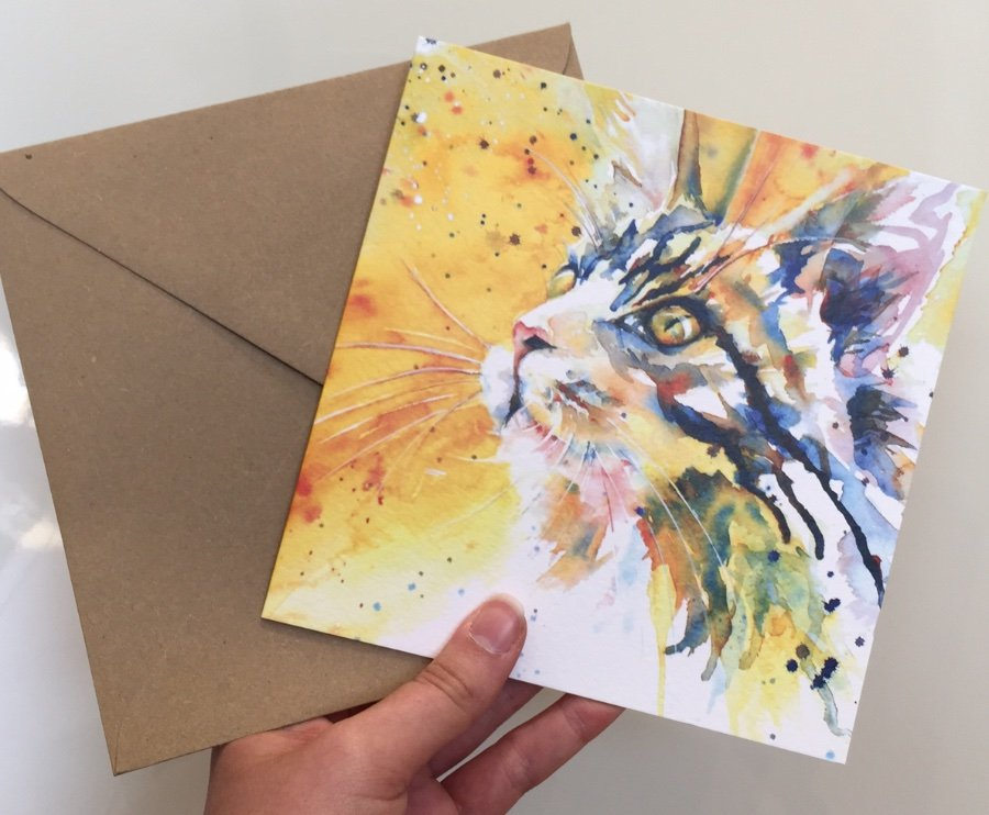 Beautiful Water Colour 'Cat's Eye' Greeting Card