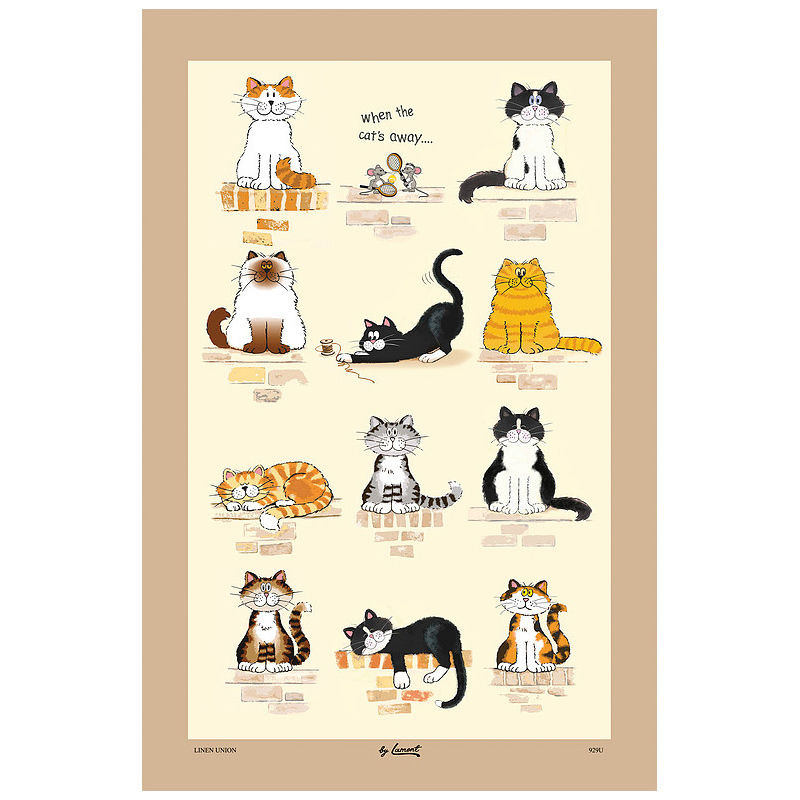 When the Cat's Away Cotton Tea Towel (929C1)