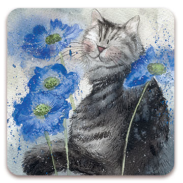 Set of 2 Cornflowers Cat Coasters
