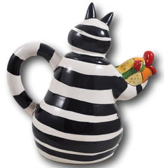 Grace Cat Black and White Teapot