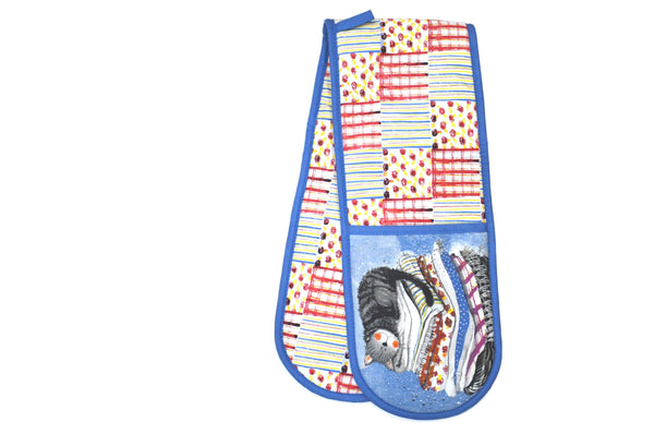 Cat Laundry Basket Double Oven Gloves