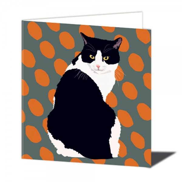 Black & White Cat Greeting Card