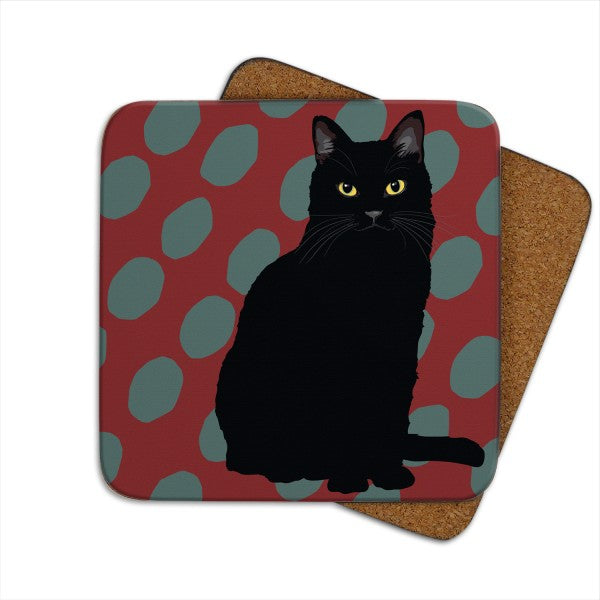 Set of 2 Black Cat, Cat Coasters