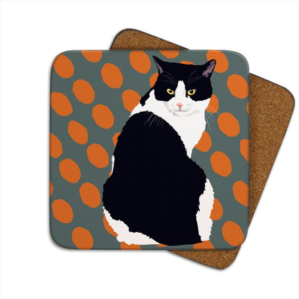 Set of 2 Black & White Cat, Cat Coasters