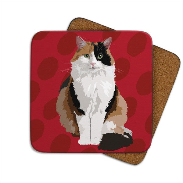 Set of 2 Tortoiseshell Cat, Cat Coasters