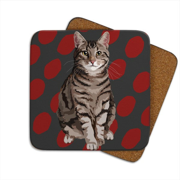 Set of 2 Tabby Cat, Cat Coasters