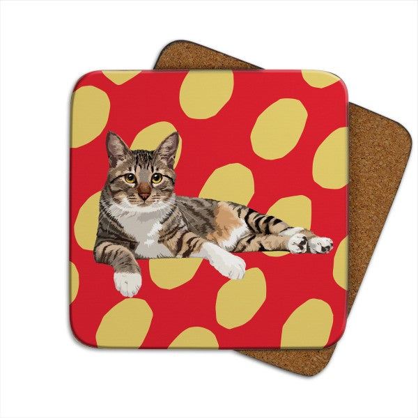 Set of 2 Tabby II Cat, Cat Coasters