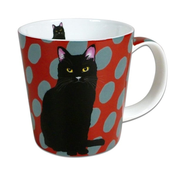 Black Cat Mug by Artist Leslie Gerry