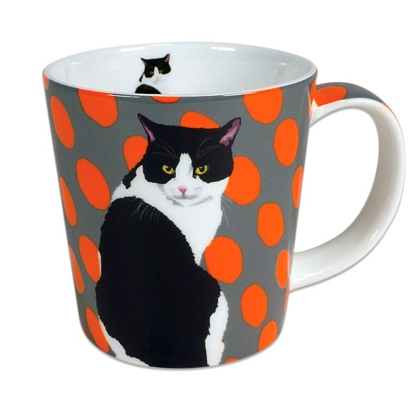 Black & White Cat Mug by Artist Leslie Gerry