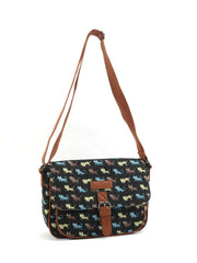 Black Cat Pattern Canvas Cross Body Satchel Shoulder Bag