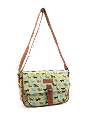 Beige Cat Pattern Canvas Cross Body Satchel Shoulder Bag
