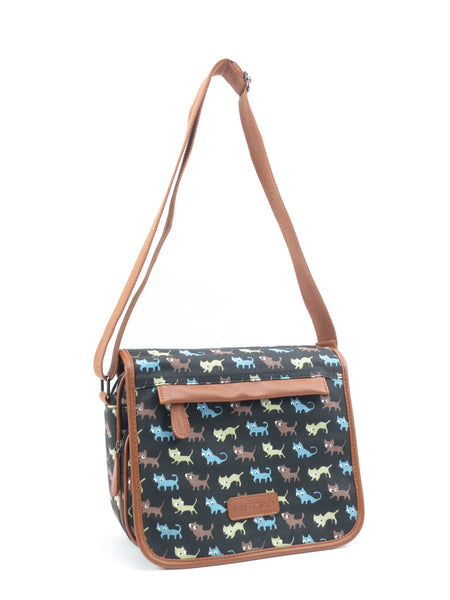 Black Cat Pattern Canvas Cross Body Shoulder Bag