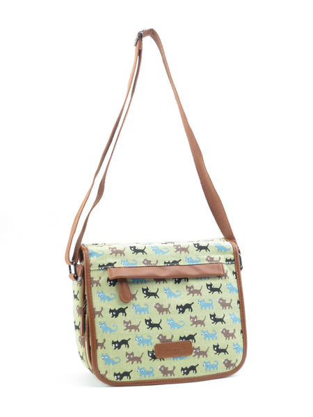 Beige Cat Pattern Canvas Cross Body Shoulder Bag