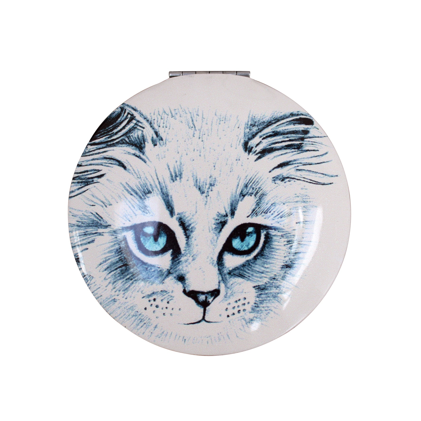 Two Sided Cat Design Compact Mirror