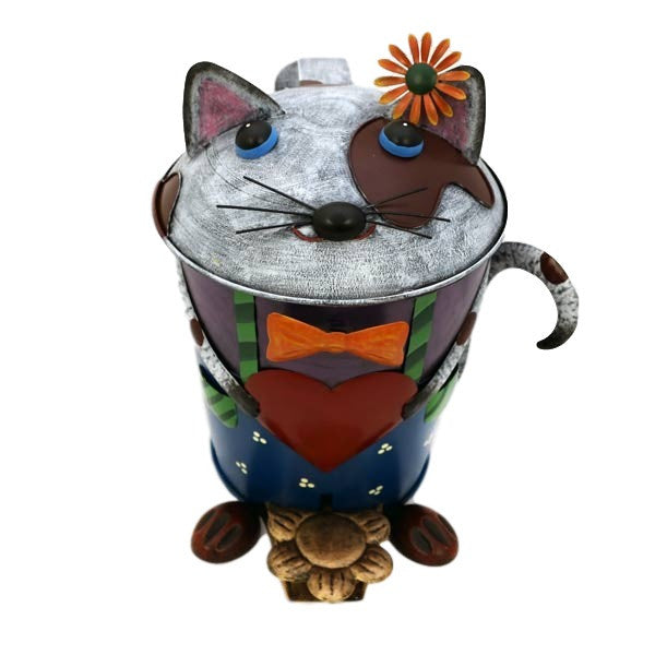 Cute Cat Metal Pedal Bin