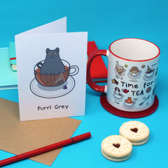 Purrl Grey Cat Greeting Card