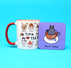 Set of 2 Purrl Grey Cat Coasters