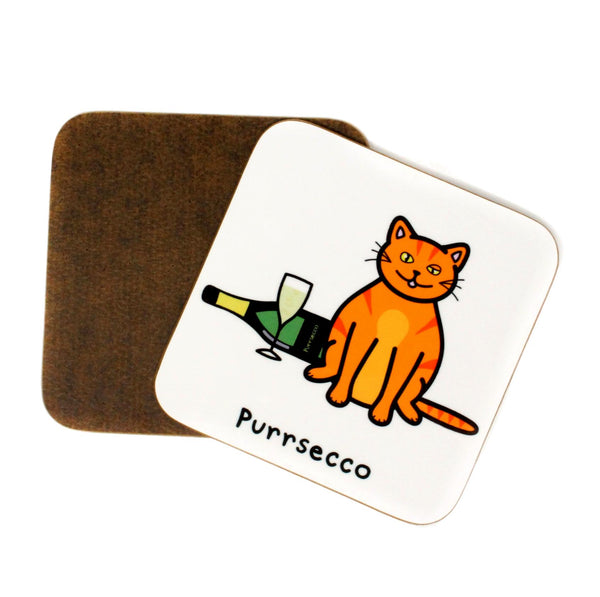 Set of 2 Purrsecco Cat Coasters