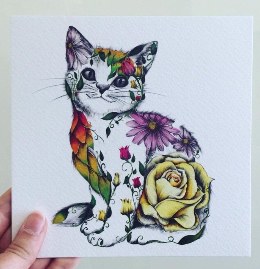Beautiful Water Colour 'Rosie' Cat