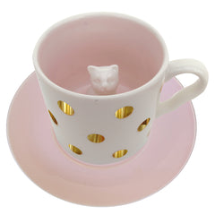Spotty Cat Cup and Saucer In Gift Box