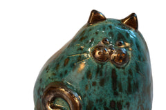Ceramic Modern Teal Chubby Cat
