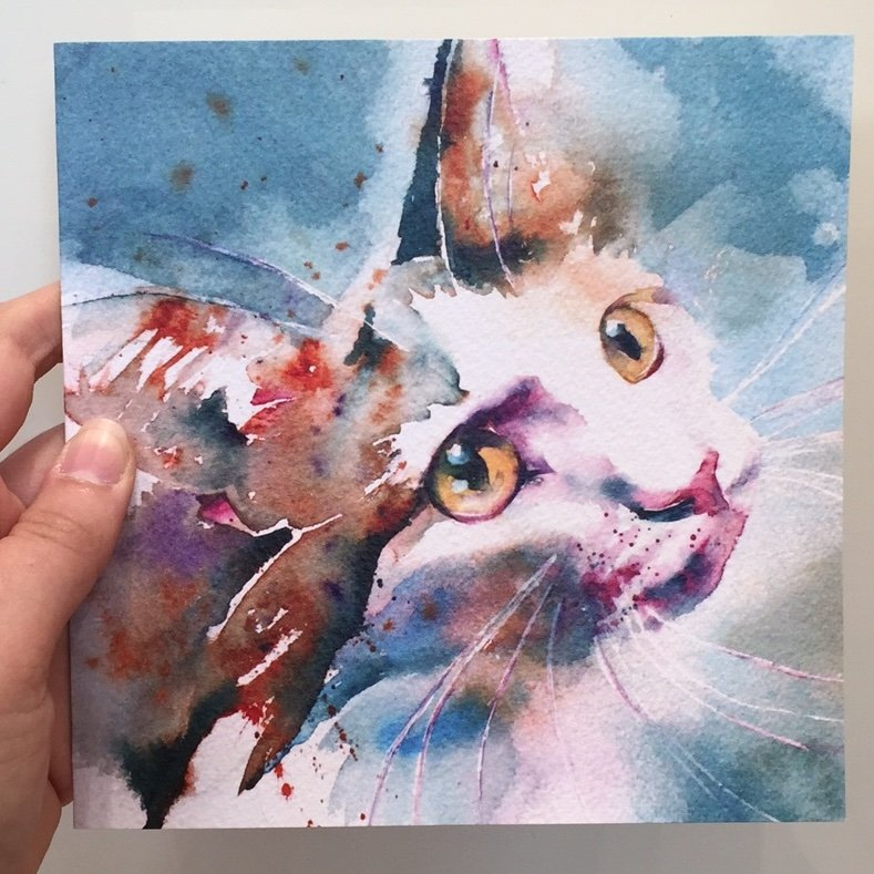 Beautiful Water Colour 'The Look of Love' Cat Greeting Card