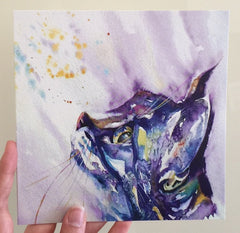 Beautiful Water Colour 'The Pussycat' Cat Greeting Card