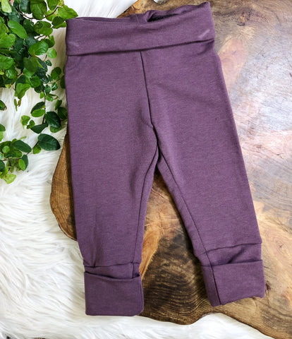 Grow Along Pants- plum 3mos-12mos