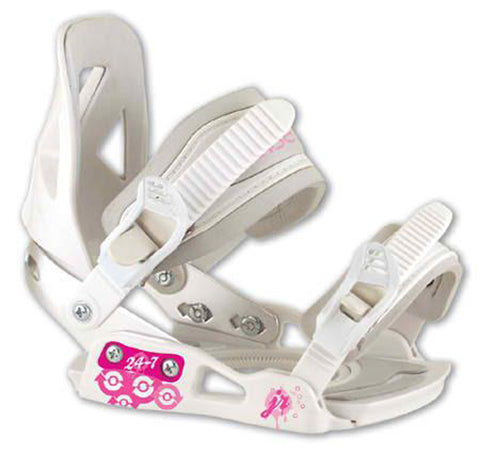 24/7 JR Girls Snowboard Bindings XS White/Pink