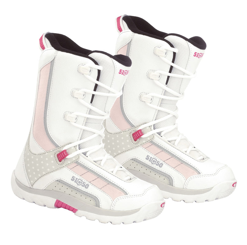 5150 Brigade White Pink Star Girls Snowboard Boots Sizes 5