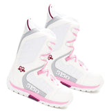 5150 Brigade White Pink Heart Girls Snowboard Boots Sizes 5 6