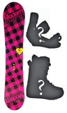 140cm Modern Amusement Santa Monica Pink, Rocker Womens Snowboard, Build a Package with Boots and Bindings.