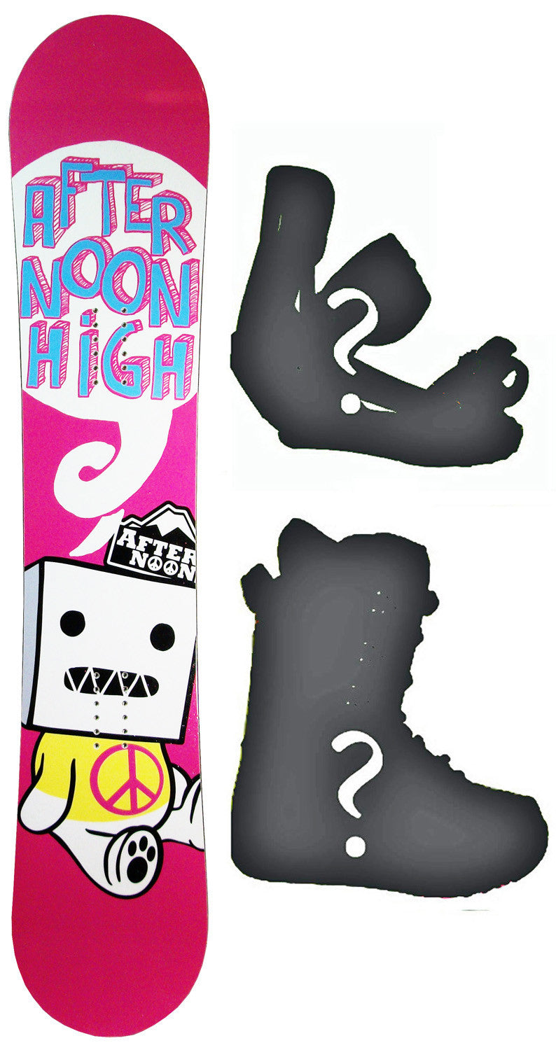 135cm  Afternoon High Pink Peace Sign Camber Snowboard, Build a Package with Boots and Bindings