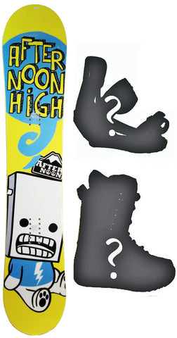 144cm  Afternoon High Yellow Bolt Rocker Snowboard, Build a Package with Boots and Bindings