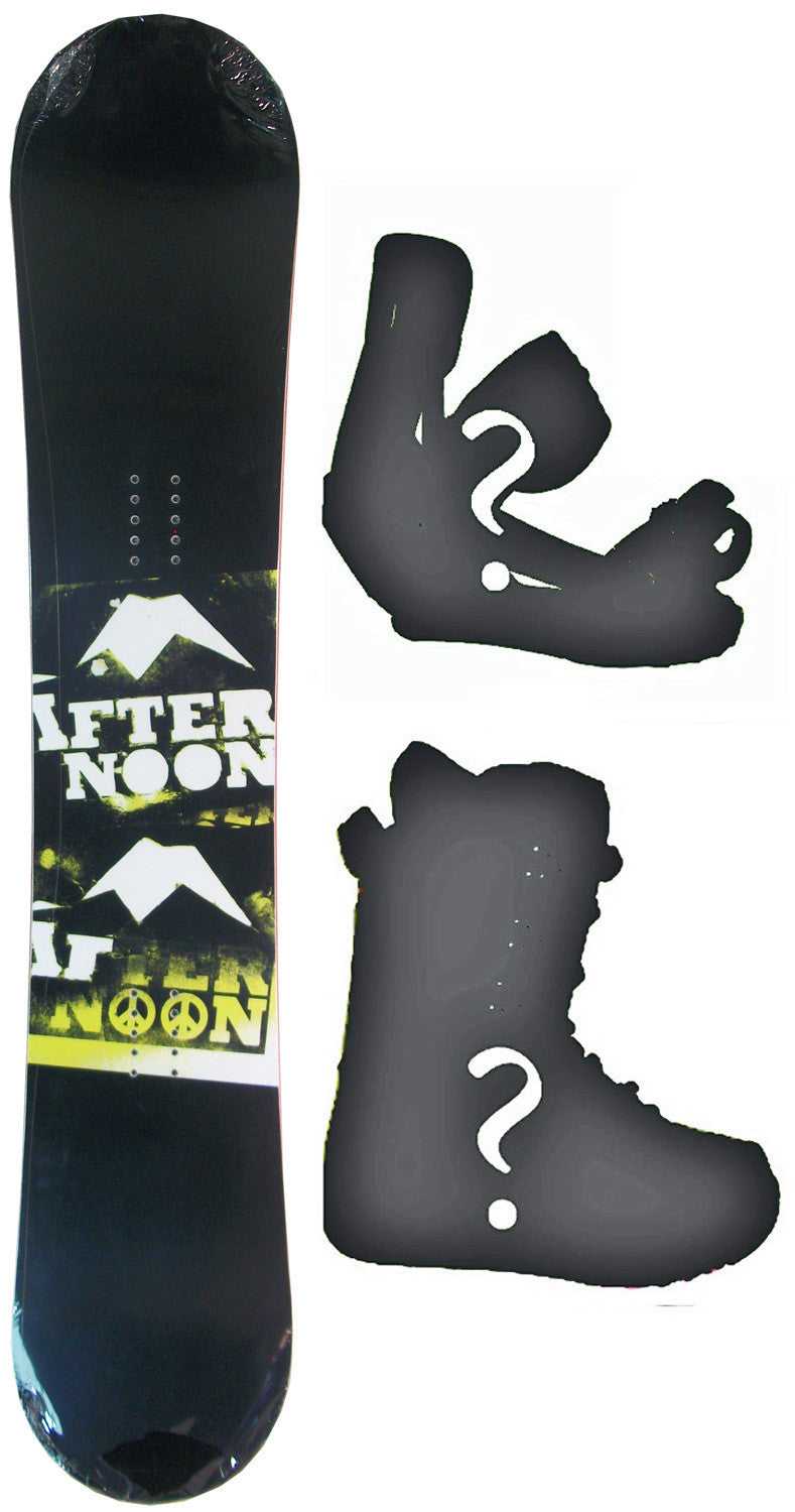 154cm  Afternoon Papercut Black Rocker Snowboard, Build a Package with Boots and Bindings