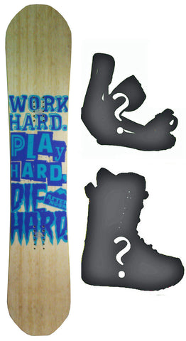 147cm  Afternoon Work Hard Blue Wood Camber Snowboard, Build a Package with Boots and Bindings