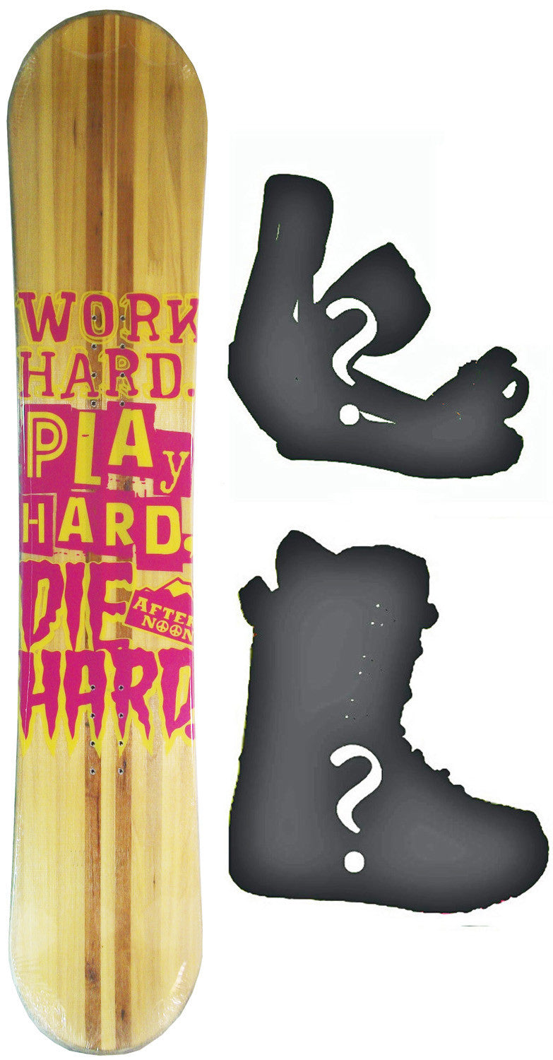 150cm  Afternoon Work Hard Pink Wood Rocker Snowboard, Build a Package with Boots and Bindings