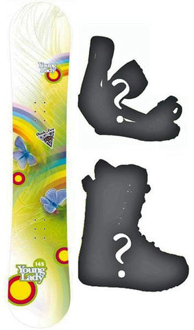 130cm Black Fire Young Lady Tecno Rocker Girls Snowboard, or Build a Package with Boots and Bindings.
