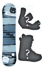 110cm Burton LTR Streak Gray Flat Rocker Used Snowboard Package With Boots and Bindings