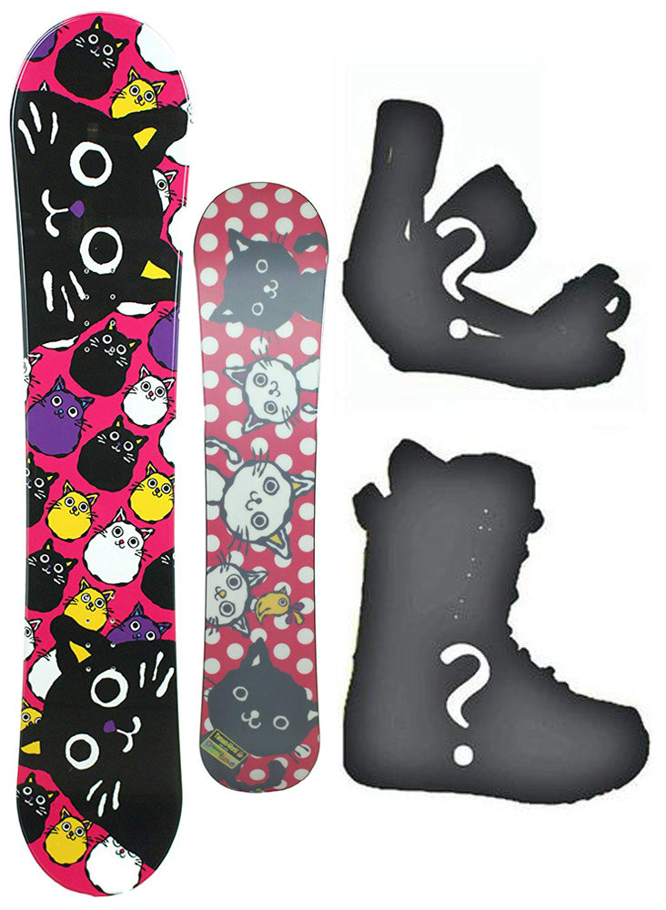 135cm BXB Tamago World, Flat Rocker Girls Snowboard, Build a Package with Boots and Bindings.