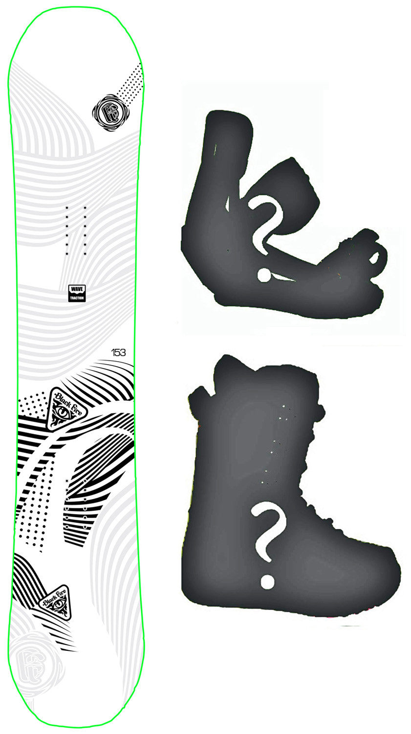 153cm  Black Fire B.F. Tribal Rocker Blem Snowboard, Build a Package with Boots and Bindings