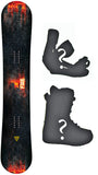 163cm Wide Black Fire Fire Coal Camber Snowboard, Build a Package with Boots and Bindings