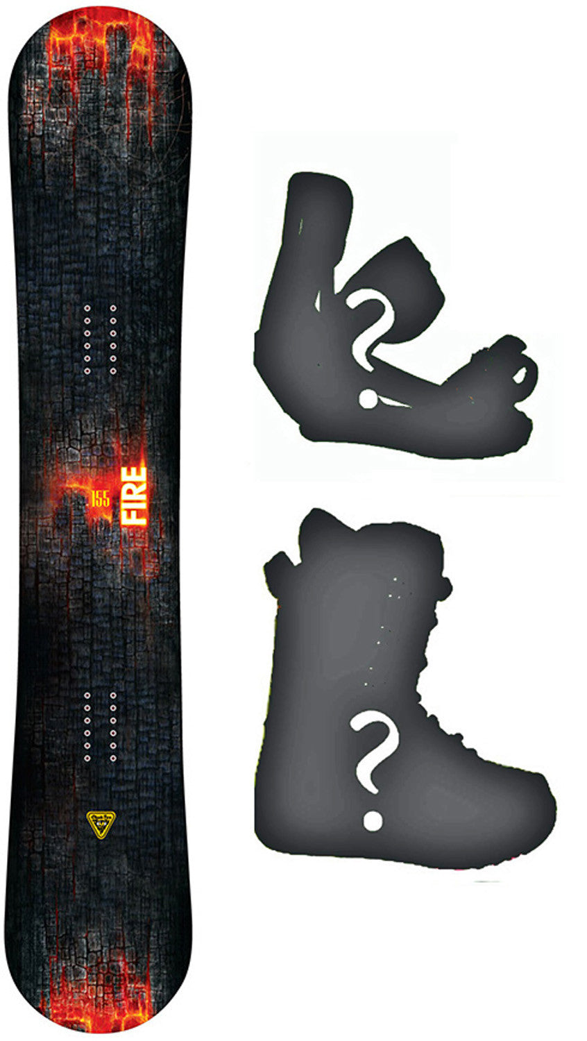 167cm Wide Black Fire Coal Camber Blem Snowboard, Build a Package with Boots and Bindings