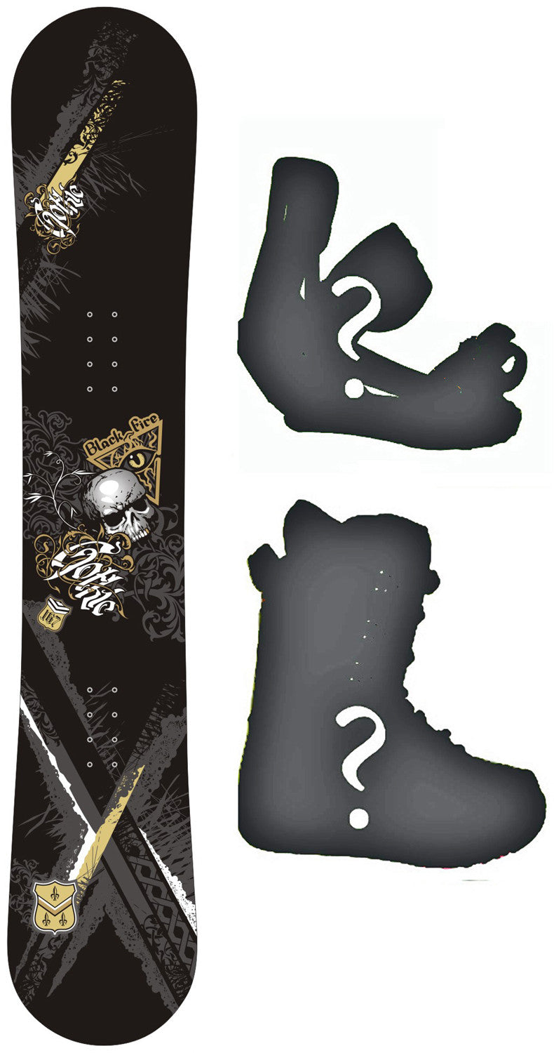 159cm  Black Fire Gothic Skull Rocker Snowboard, Build a Package with Boots and Bindings