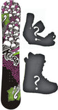 150cm  Black Fire Kurt Skulls Rocker Snowboard, Build a Package with Boots and Bindings
