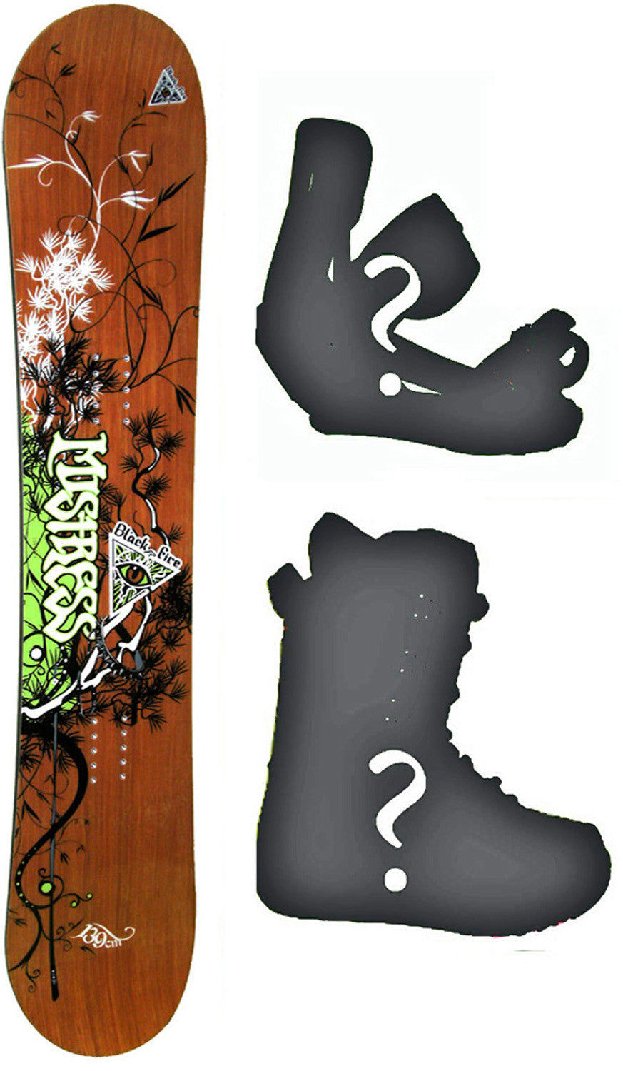 154cm  Black Fire Mistress Rocker Snowboard, Build a Package with Boots and Bindings