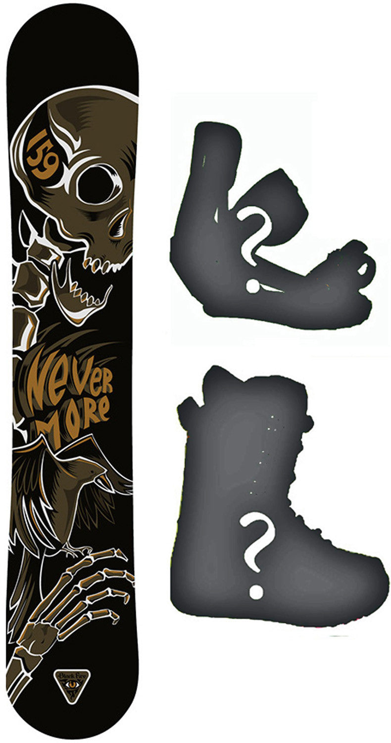163cm  Black Fire Never More Camber Snowboard, Build a Package with Boots and Bindings