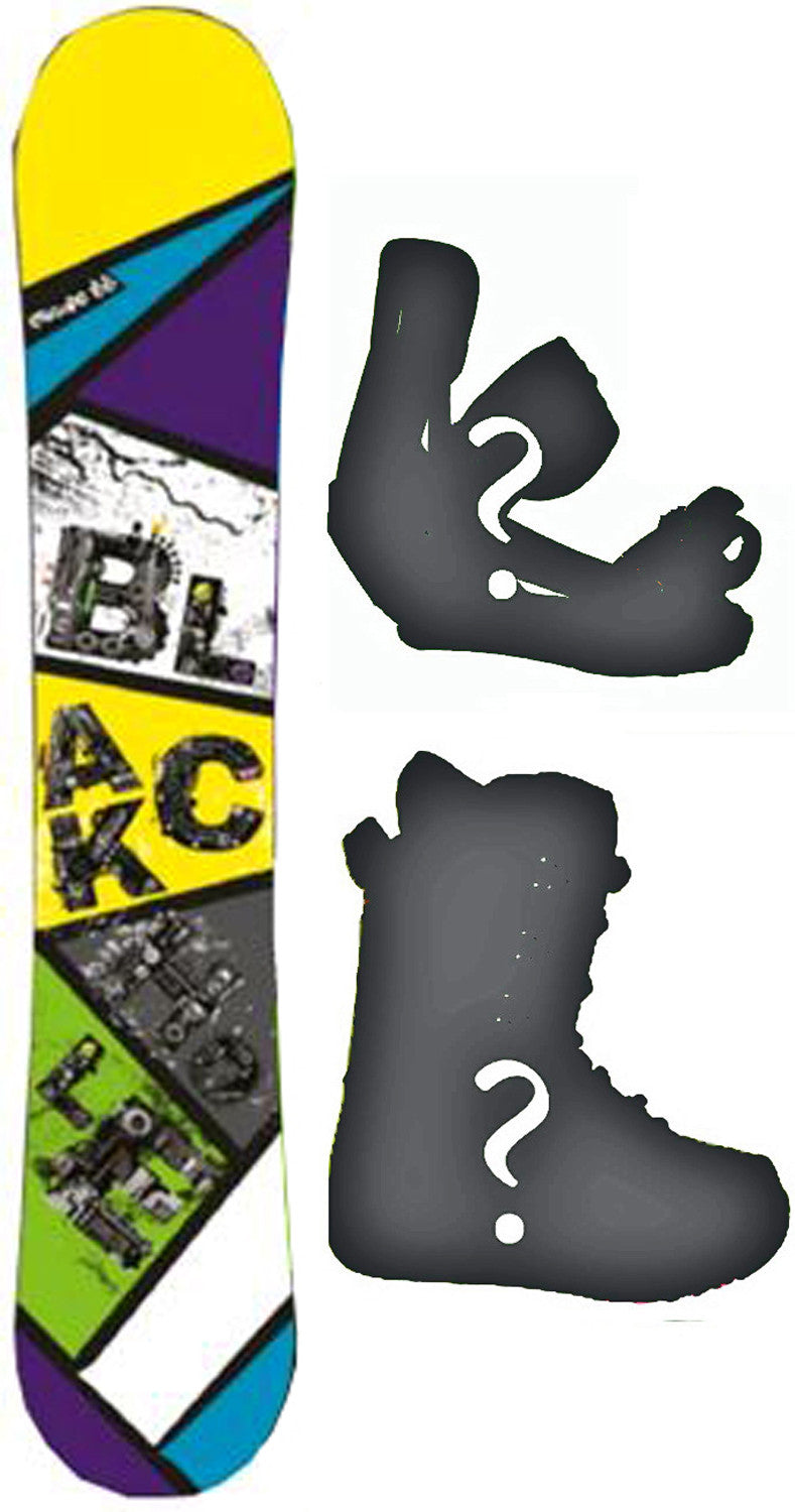 156cm  Black Hole Escape Yellow Rocker Snowboard, Build a Package with Boots and Bindings