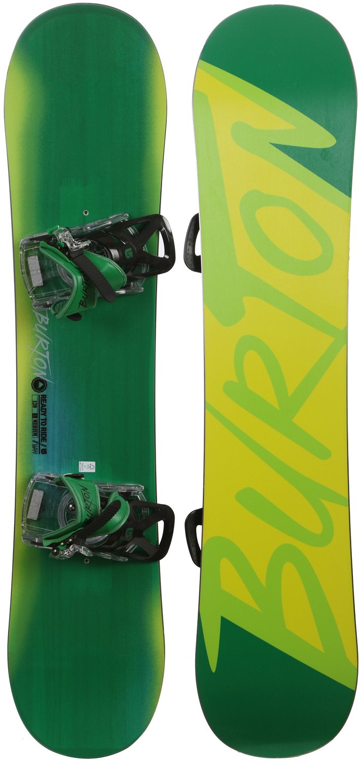 "120cm Burton LTR Ready To Ride Green Snowboard & Bindings Package ""last 1"""